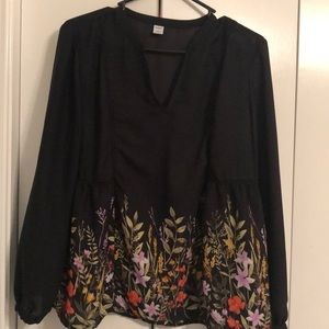 Old Navy black/flower long sleeve top